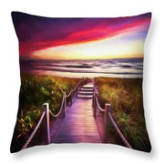 To The Beach Early Morning Watercolor Painting Throw Pillow