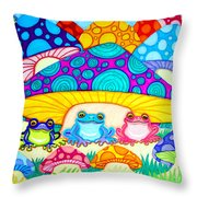Toads And Toad Stools Throw Pillow