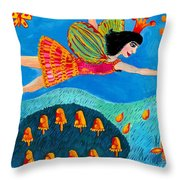 Toadstool Fairy Flies Again Throw Pillow