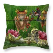 Toasted Frogs Throw Pillow