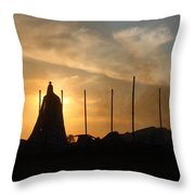 Tobacco Barn Fire II Silhouette Throw Pillow