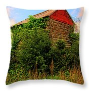 Tobacco Barn On A Rise Throw Pillow