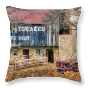 Tobacco Tractor Throw Pillow