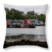 Tobermory Town Cityscape, Isle Of Mull Throw Pillow