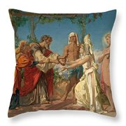 Tobias Brings His Bride Sarah To The House Of His Father Tobit Throw Pillow