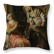 Tobit And Anna With The Kid Throw Pillow