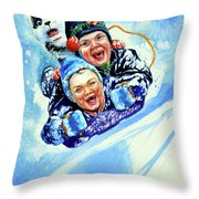 Toboggan Terrors Throw Pillow