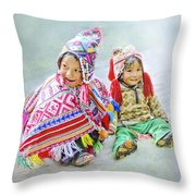 Toddler Dolls Throw Pillow