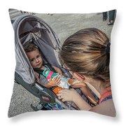 Toddler In Stroller 10512ct Throw Pillow