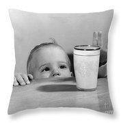 Toddler Reaching For Glass Of Milk Throw Pillow