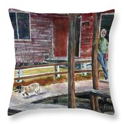Together Again At The Old Fish Camp Throw Pillow