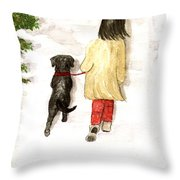 Together - Black Labrador And Woman Walking Throw Pillow