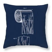Toilet Paper Roll Patent 1891 Blue Throw Pillow