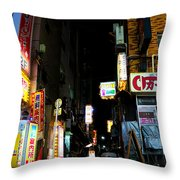 Late Night Alley Throw Pillow