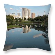 Tokyo Buildings And Garden Pond Throw Pillow