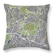 Tokyo City Map Engraving Throw Pillow