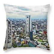 Tokyo City View Throw Pillow