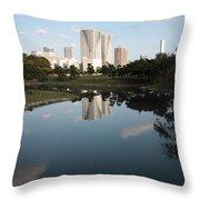 Tokyo Highrises With Garden Pond Throw Pillow