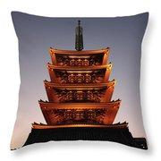 Tokyo Temple Lights At Dusk Throw Pillow