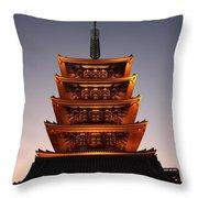 Tokyo Temple Lights Throw Pillow