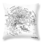 Tolkien Style Map Of Snowflakes Throw Pillow