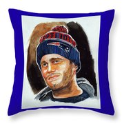 Tom Brady Throw Pillow by Dave Olsen