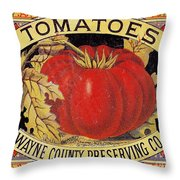 Tomato Can Label Throw Pillow