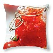 Tomato Jam In Glass Jar Throw Pillow