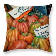 Tomatoes At Market Throw Pillow