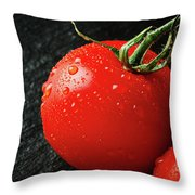 Tomatoes Close Up On Black Slate Throw Pillow