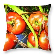 Tomatoes Hanging Like Grapes From Vines Go1 3711a3 Throw Pillow