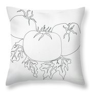 Tomatoes On A Vine In One Line Throw Pillow