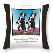 Twin Tuxedo-tomcats Terpsichore Throw Pillow