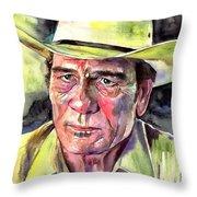 Tommy Lee Jones Portrait Watercolor Throw Pillow