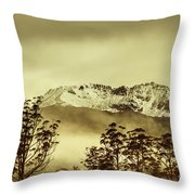 Toned View Of A Snowy Mount Gell, Tasmania Throw Pillow