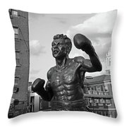 Tony Demarco Boxer Statue North End Boston Ma Sunset Black And White Throw Pillow