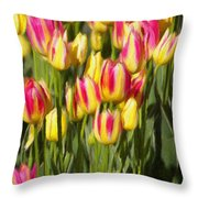 Too Many Tulips Throw Pillow