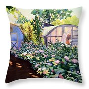 Tool Shed And The Greenhouse Throw Pillow