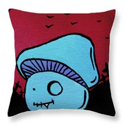 Toothed Zombie Mushroom Throw Pillow