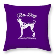 Top Dog Brewing Company Tee White Ink Throw Pillow