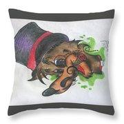 Top Hat Fox Throw Pillow