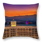 Top Of The Bellagio After Sunset Throw Pillow