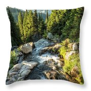 Top Of The Morning At The Top Of Myrtle Falls Throw Pillow