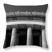 Top Portion Of A Lincoln Memorial Old Greek Architecture Throw Pillow