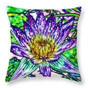 Top View Of A Beautiful Purple Lotus Throw Pillow