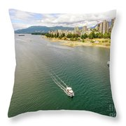 Top View Of English Bay In Summer, Vancouver Bc. Throw Pillow