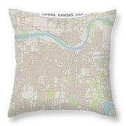 Topeka Kansas Us City Street Map Throw Pillow