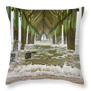 Topsail Island Pier Throw Pillow