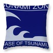Topsail Island's Tsunami Zone Sign Throw Pillow