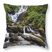 Torc Waterfall In Killarney National Throw Pillow